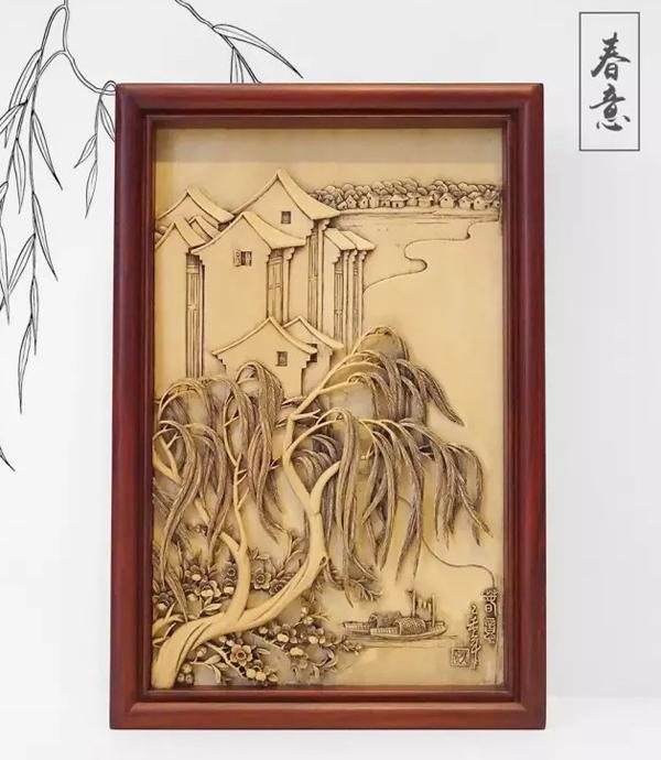 木雕柳树作品图片